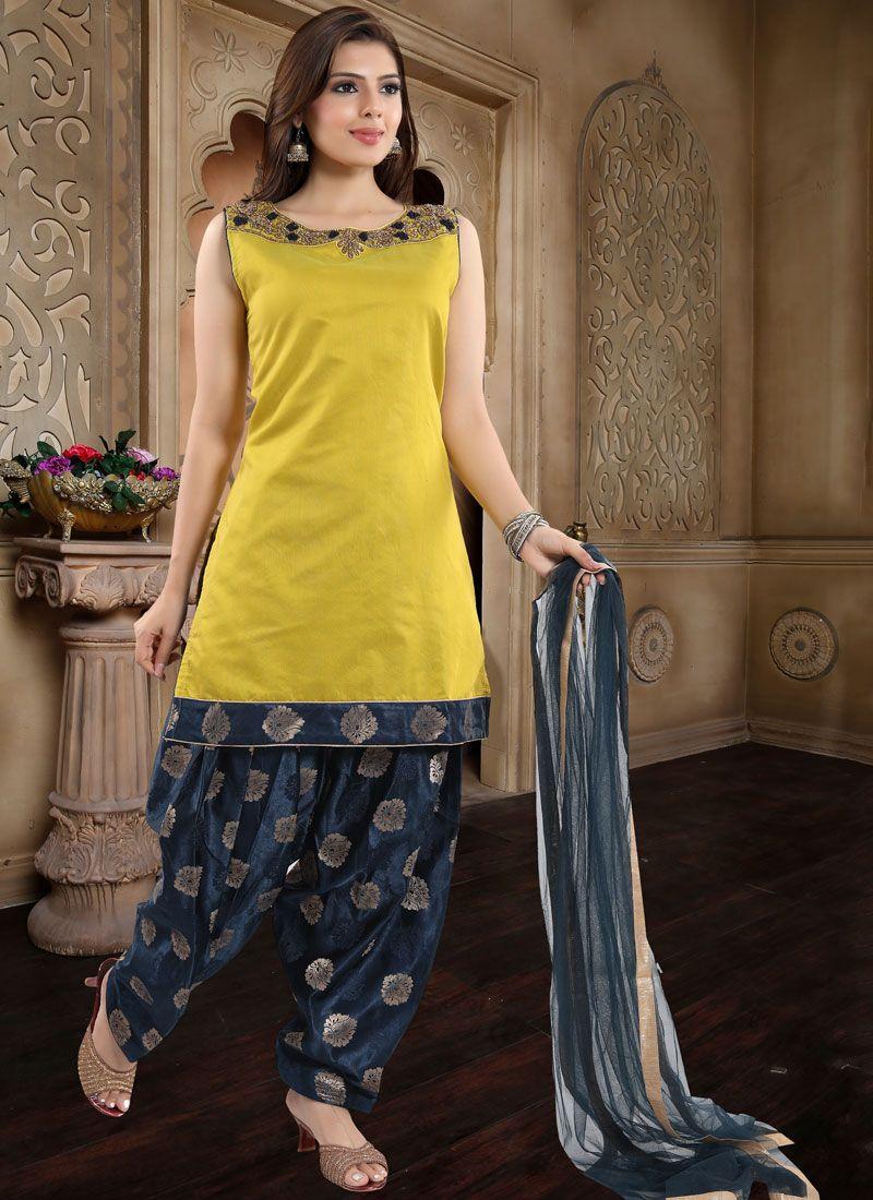 Yellow Banglori Silk Readymade Suit