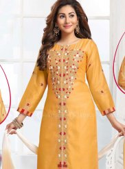 Yellow Border Pant Style Suit