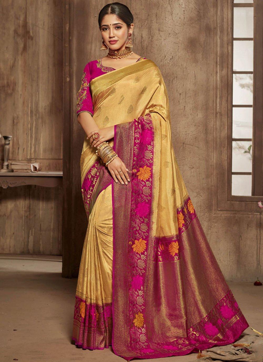 Yellow Bridal Traditional Saree