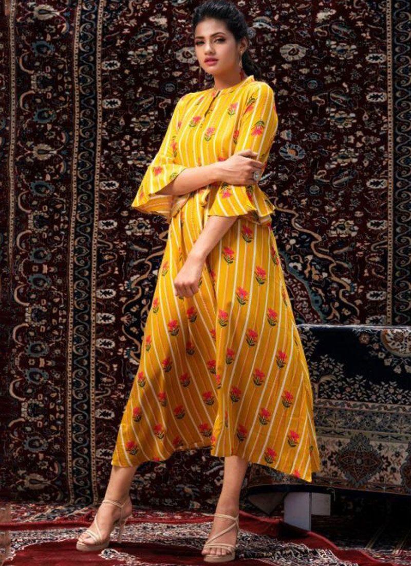 Yellow Casual Fancy Fabric Party Wear Kurti