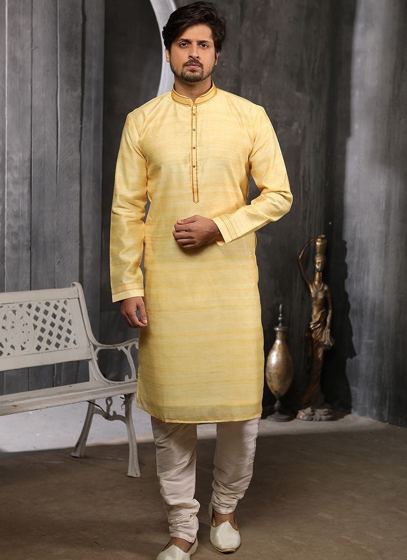 Yellow Ceremonial Art Banarasi Silk Indo Western