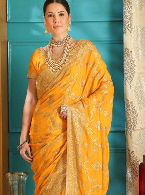 Yellow Ceremonial Art Silk Designer Saree