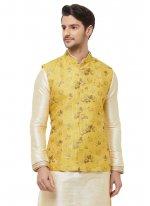 Yellow Ceremonial Art Silk Nehru Jackets