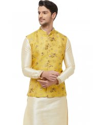 Yellow Ceremonial Art Silk Nehru Jackets