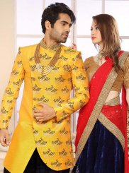Yellow Ceremonial Jacquard Indo Western Sherwani
