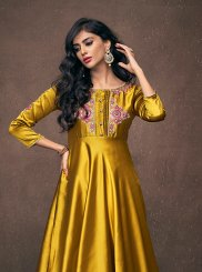 Yellow Ceremonial Satin Silk Readymade Gown