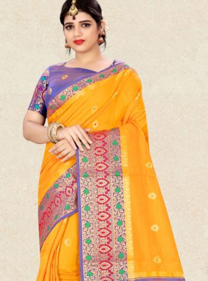 Yellow Ceremonial Traditional Designer Saree