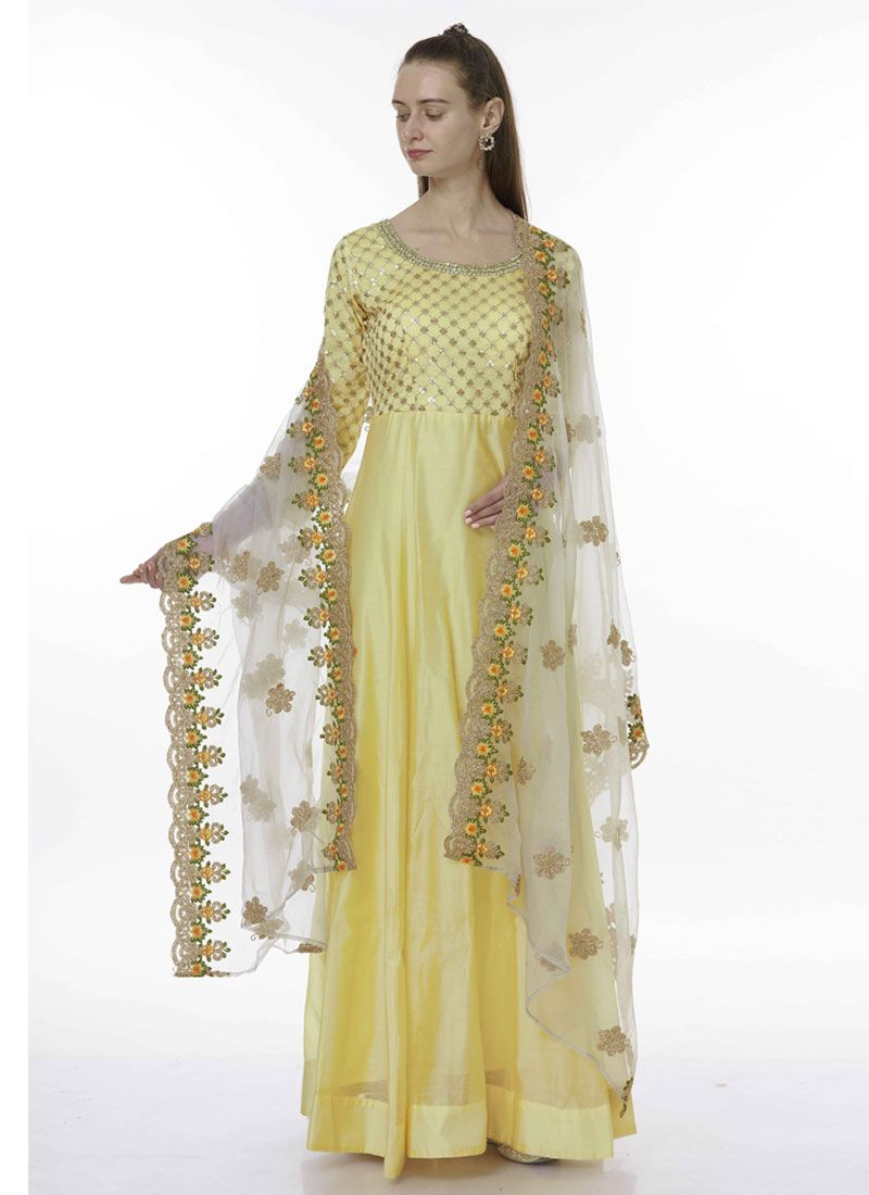Yellow Chanderi Festival Designer Salwar Suit