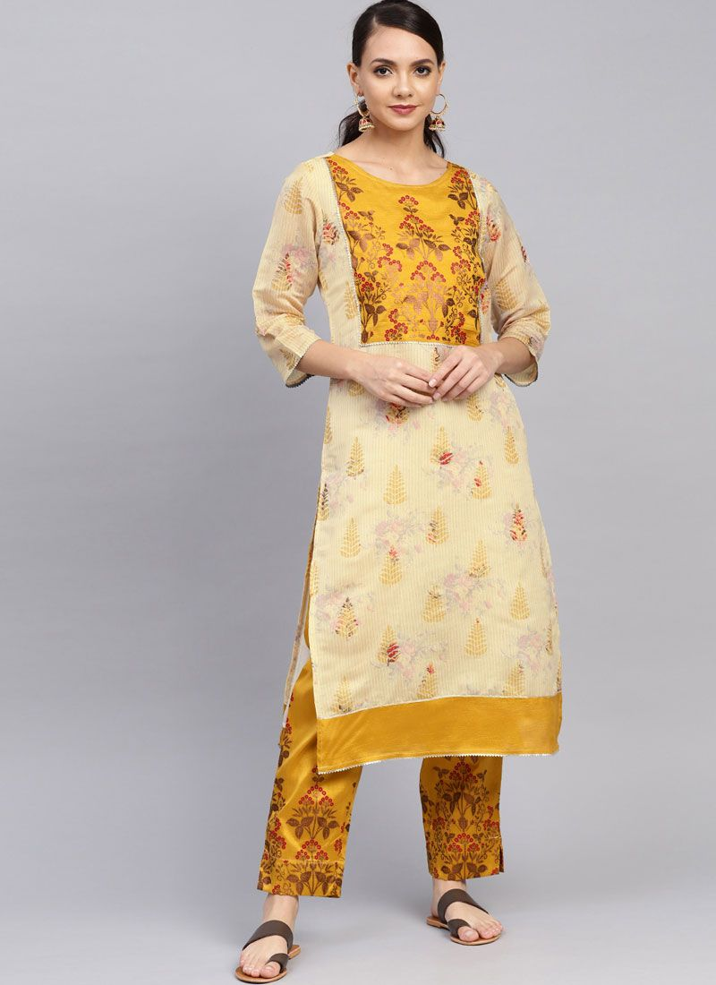 Yellow Chanderi Foil print Pant Style Suit