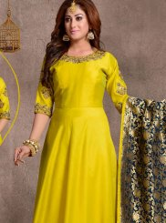 Yellow Chanderi Plain Anarkali Salwar Kameez