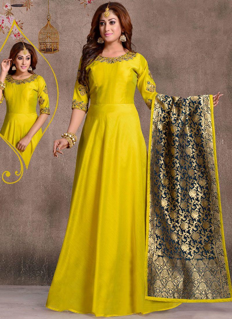 Yellow Chanderi Plain Anarkali Salwar Kameez