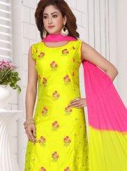 Yellow Chanderi Readymade Suit