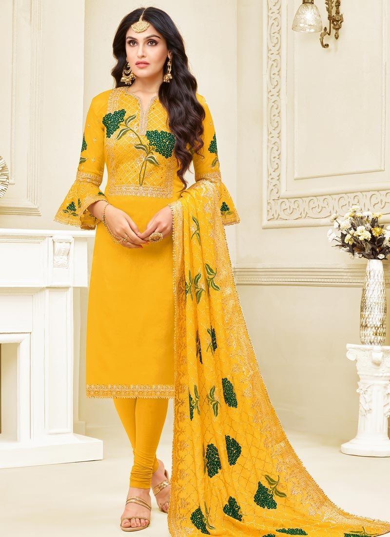 Yellow Churidar Designer Suit