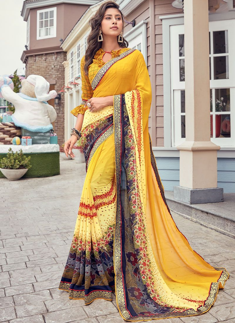 Yellow Color Casual Saree