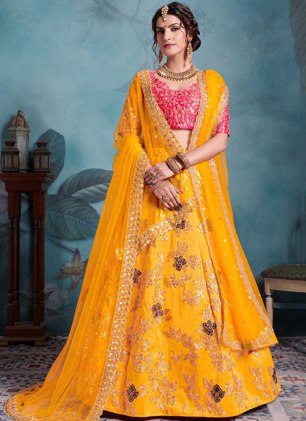 Yellow Color Trendy Designer Lehenga Choli