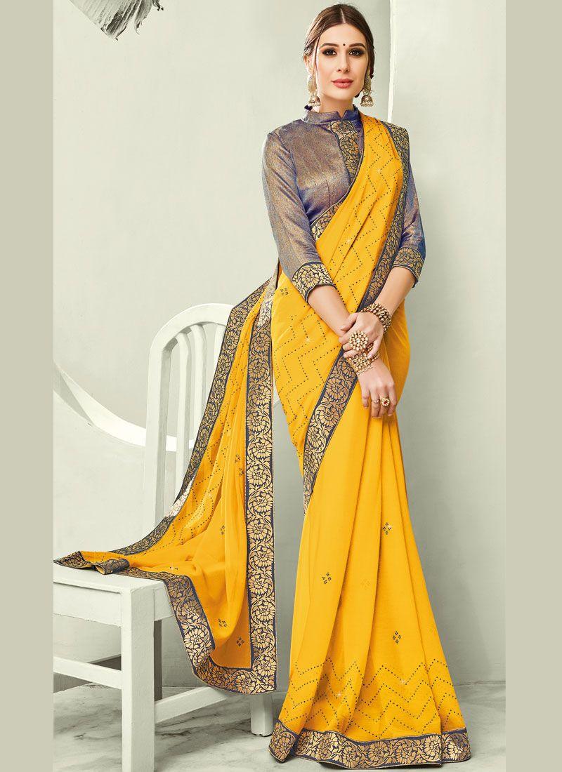 Yellow Color Trendy Saree