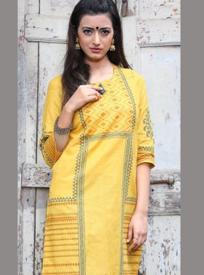 Yellow Cotton Casual Kurti