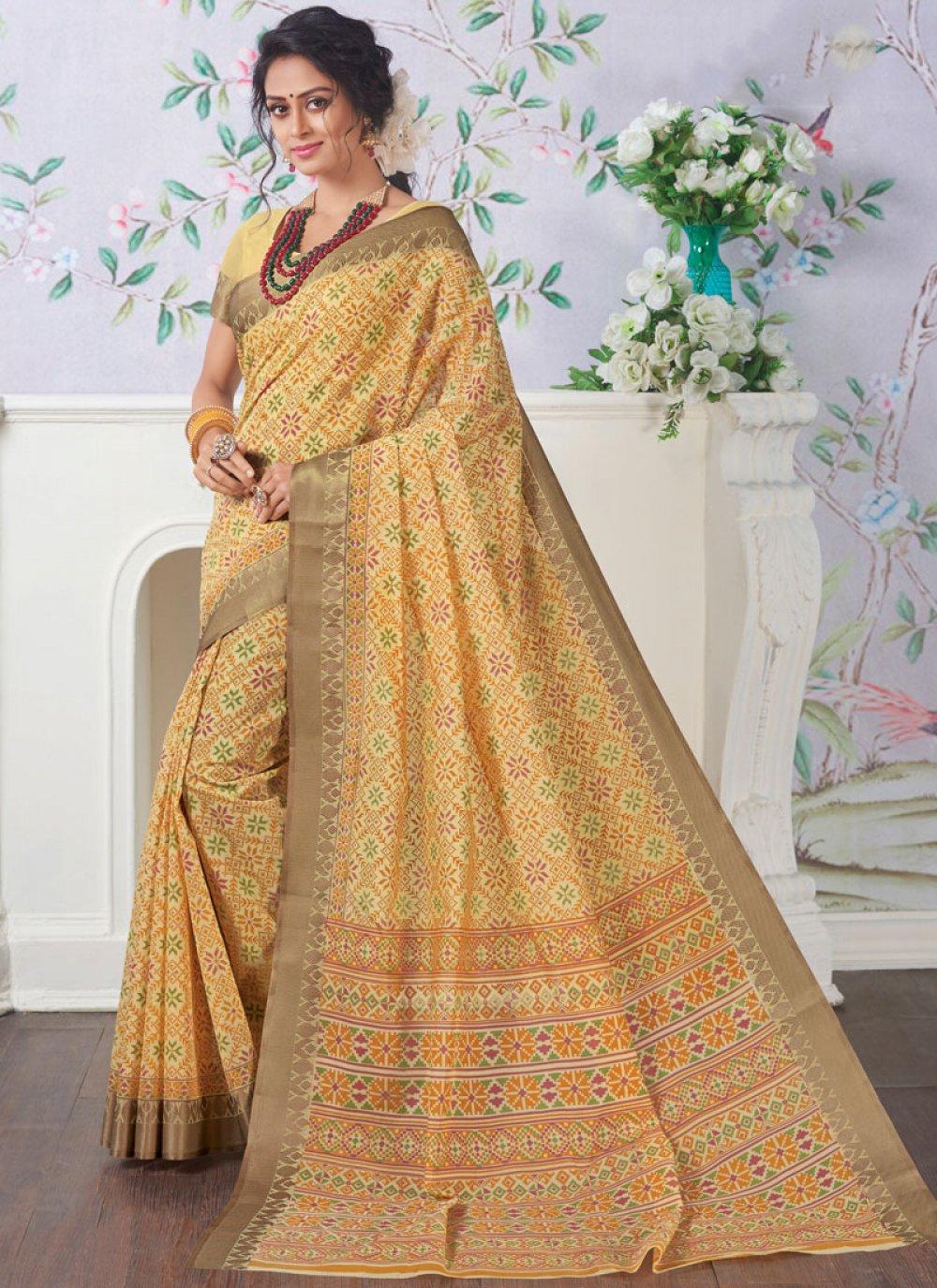 Yellow Cotton Casual Saree