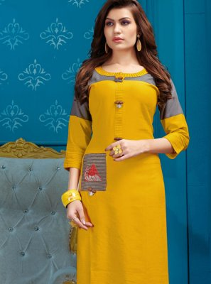 Yellow Cotton Fancy Party Wear Kurti