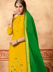 Yellow Cotton Festival Churidar Designer Suit