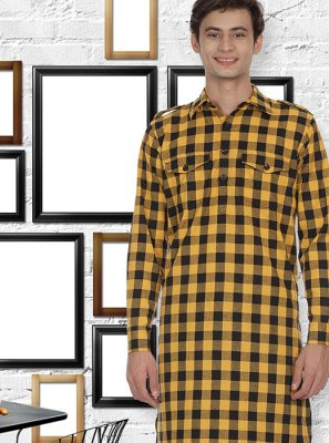 Yellow Cotton Festival Kurta Pyjama