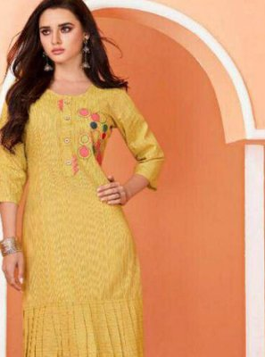 Yellow Cotton Festival Party Wear Kurti