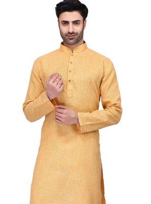 Yellow Cotton Party Kurta Pyjama