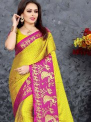Yellow Cotton Zari Casual Saree
