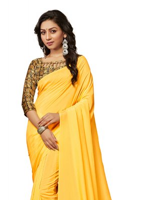 Yellow Crepe Silk Casual Traditional Saree