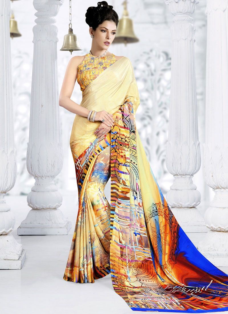 Yellow Crepe Silk Printed Trendy Saree