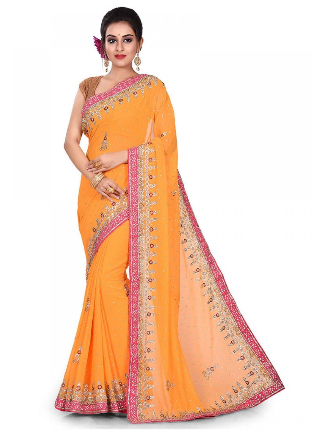 Yellow Designer Traditional Saree