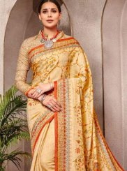 Yellow Digital Print Banarasi Silk Silk Saree
