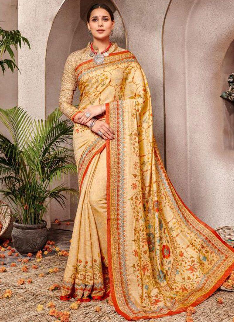 Yellow Digital Print Banarasi Silk Silk Saree