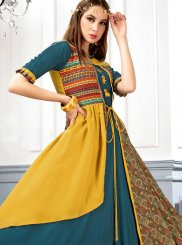 Yellow Digital Print Rayon Designer Kurti