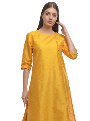 Yellow Dupion Silk Plain Designer Kurti
