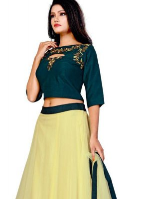 Yellow Embroidered A Line Lehenga Choli