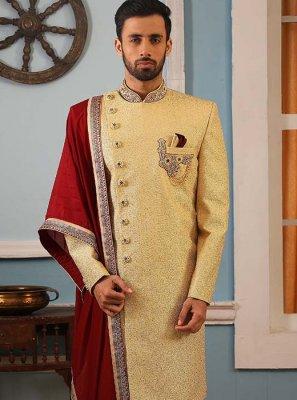 Yellow Embroidered Art Banarasi Silk Sherwani