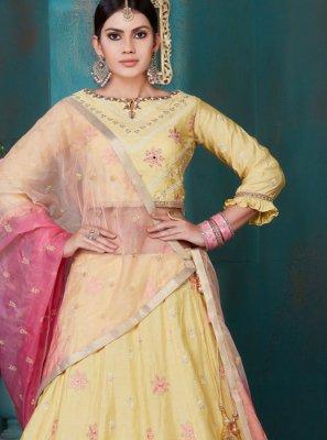 Yellow Embroidered Ceremonial Designer Lehenga Choli