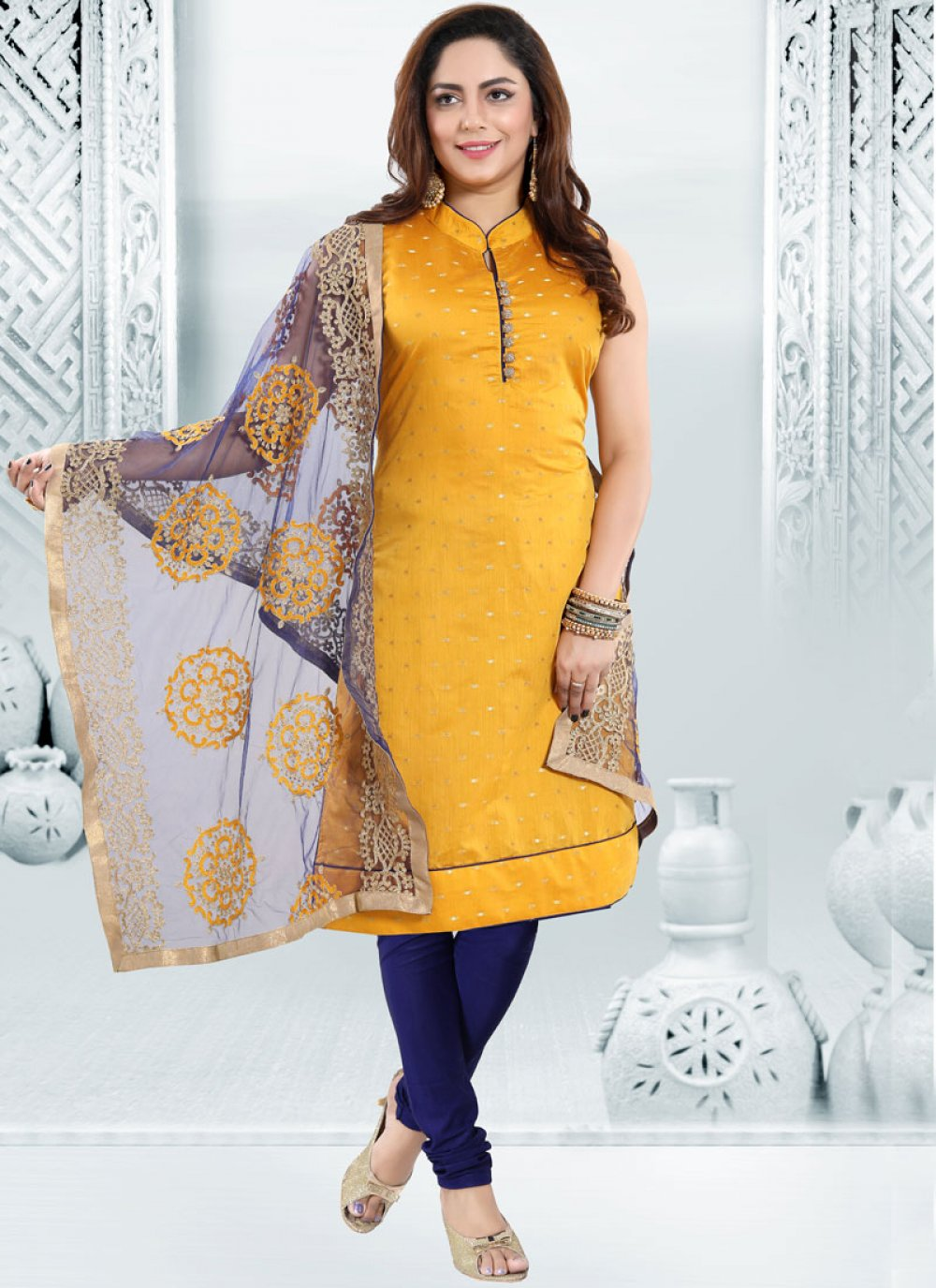 Yellow Embroidered Chanderi Churidar Designer Suit