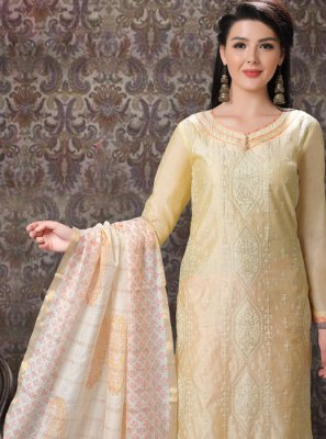 Yellow Embroidered Chanderi Churidar Suit