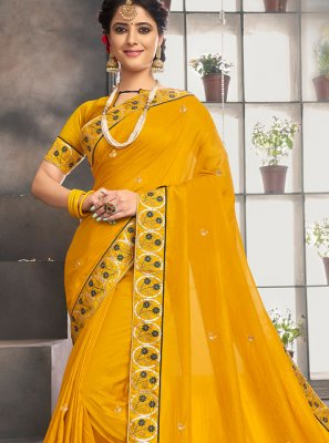 Yellow Embroidered Chanderi Designer Saree