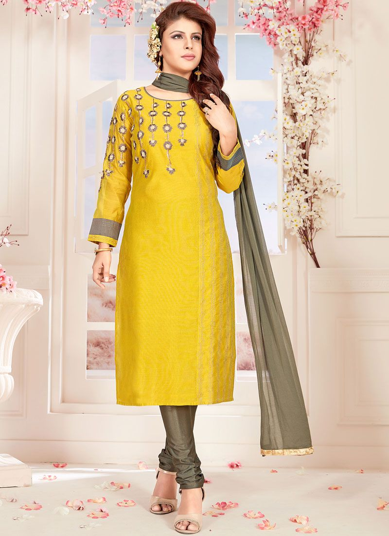 Yellow Embroidered Chanderi Readymade Suit