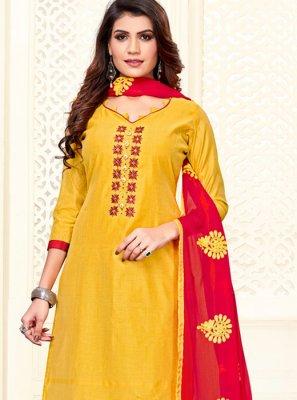 Yellow Embroidered Churidar Salwar Kameez