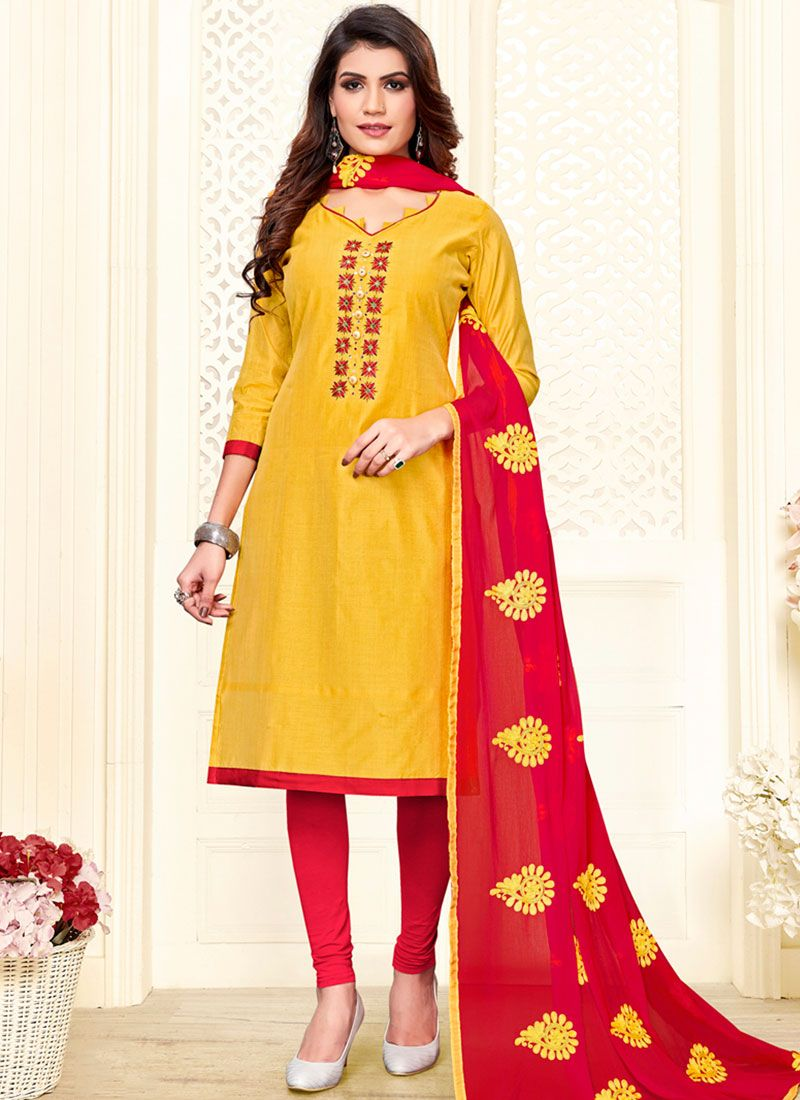 Yellow Embroidered Churidar Salwar Kameez