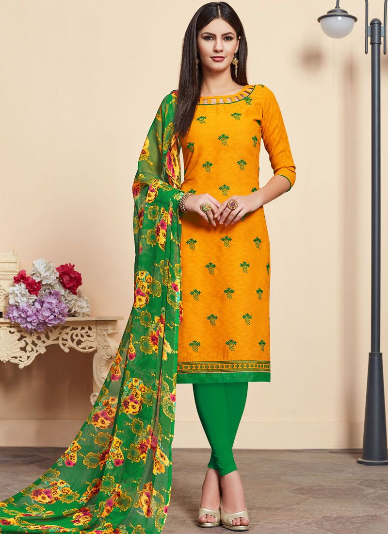 Yellow Embroidered Cotton Churidar Designer Suit