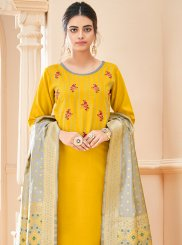 Yellow Embroidered Cotton Churidar Salwar Kameez