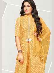 Yellow Embroidered Cotton Satin Designer Pakistani Suit