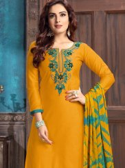 Yellow Embroidered Designer Patiala Suit