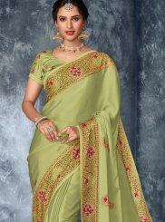 Yellow Embroidered Designer Saree