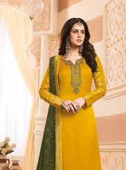 Yellow Embroidered Designer Suit